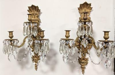 MONUMENTAL PAIR OF ANTIQUE FRENCH GILT BRONZE ORMOLU WALL SCONCES w/ LIONS FACES