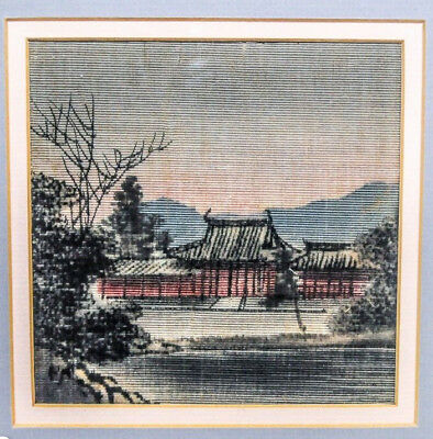 Vintage Three 5x5 Asian Landscape Delicate Embroidery Prints Each On 8x10 mat