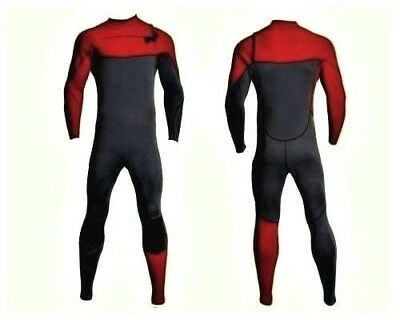 New 4/3 Chest Zip Full Body Wetsuit Red Gray Front Zipper Surf Scuba 4/3mm
