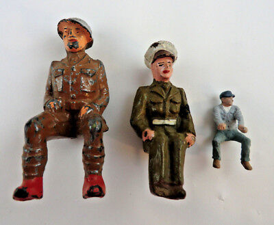 Vintage Cast Iron Toy Parts - Sitting Drivers / Soldiers for Horse Drawn Wagons