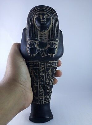 ANCIENT EGYPTIAN ANTIQUE STATUE Hieroglyphs Queen and Anubis Stone Bc