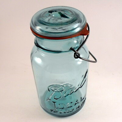 1 Qt Blue Ball Ideal Glass Canning Jar Vintage w/ Wire Side Bail Lid Excellent