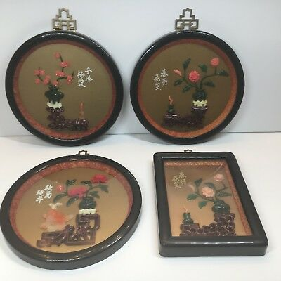 4 Vintage Japanese Imitation Jade Wall Plaques Floral Design Made in Taiwan