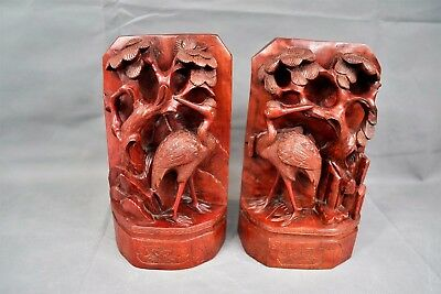 Pair Large Antique Chinese Hand Carved Wooden Bookends Crane Pine