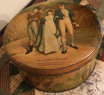 """VNT Huntley & Palmer Buiscuit Tin~Fine Art """"TWO STRINGS TO HER BOW""""  by J.Pettie"""