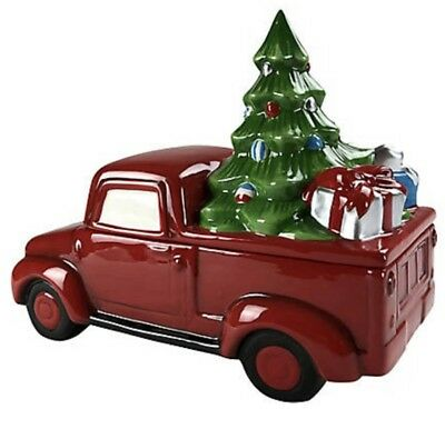 Christmas Farmhouse Red Truck w/Christmas Tree Cookie Jar - Ceramic - New!
