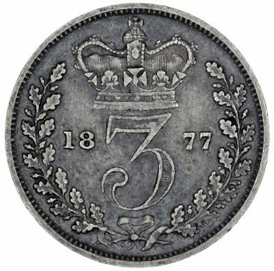 1877 Great Britain Silver Threepence 3 Pence Actual Photos Lot #A8