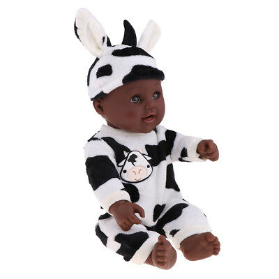 Lifelike 19inch Vinyl Reborn Baby Boy Doll African Baby Doll in Cow Clothes