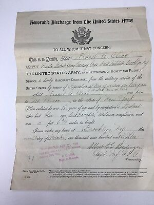 Antique U.S. Army WW1 Honorable Discharge Papers Nov 26, 1918 FORM 525
