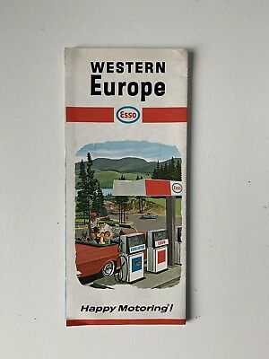 Old Vintage 1960s ESSO Travel Map Western Europe with Pictorial Guide