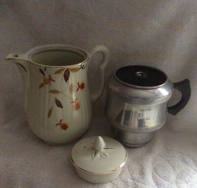 Autumn Leaf Hall Jewel Tea Coffee Pot & Aluminum Drip O Lator Vintage