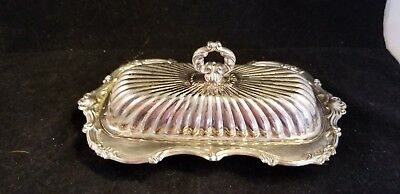 Leonard silver plated covered butter dish w/glass insert