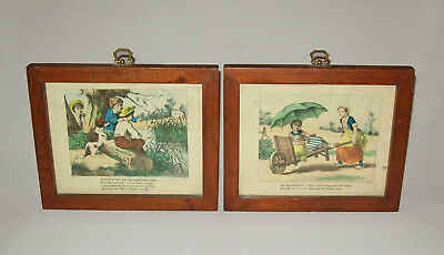 Antique vtg 19th C 1880's Pair of Emrik Binger Children Litho Prints Nice Frames