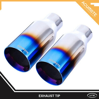 "Pair Blue Burnt Exhaust Duo Layer Straight Tip Polished 2.5""In 4""Out  9""Long"