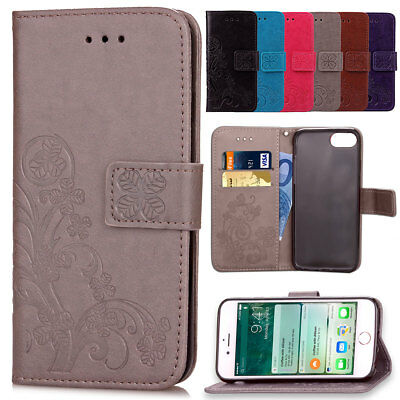Stylish Clover Leather Flip Stand Wallet Phone Case For iPhone 8 7 6s Plus 5 SE