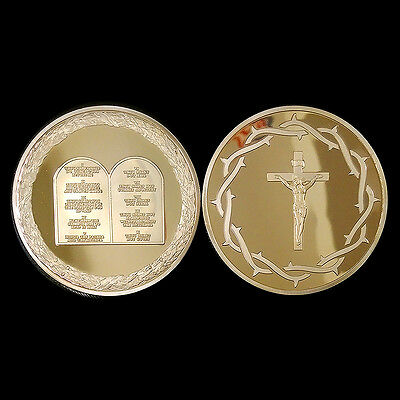 10 Commandments Gold Church Christian Priest Prayer Medal Coin God Cross Jesus A