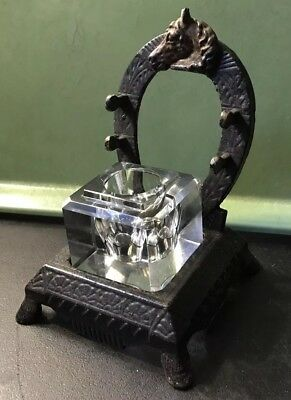Antique Victorian Cast Iron Horse Head/Equestrian Horseshoe Crystal Inkwell Pen