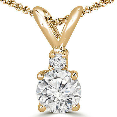 .29 Ct Si2 Round Diamond Solitaire Pendant Necklace 14K Yellow Gold