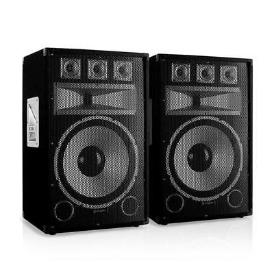 "Paar Dj Pa Lautsprecher 15"" (38Cm) Subwoofer Studio Party Box 250W Rms Sound"