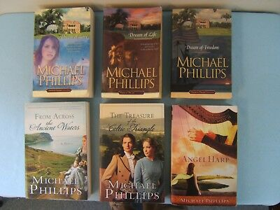 Lot of 6 Michael Phillips Books - American Dreams-Ancient Waters-Celtic Triangle