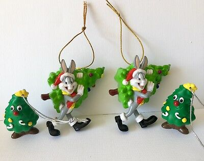 BUGS BUNNY Looney Tunes Lot CHRISTMAS ORNAMENTS 4 Santa Bugs
