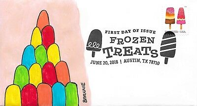 FDC Frozen Treats Stamp#6 Austin TX 2018 ALL NEW FOR 2018 Hand Painted Cachet