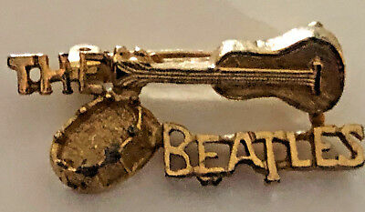 Vintage 1964 Beatles Gold Tone Pin Nems Mint! Guitars And Drum Hard To Find!