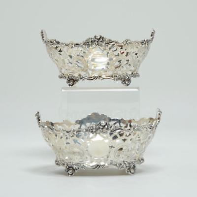 Pair Sterling Silver Reticulated Footed Bon Bon/candy Bowls By Ch. Stuart Harris
