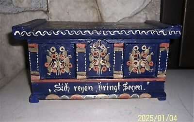 Vintage German Folk Art Box Hand Painted Casket with Adage Blue Floral
