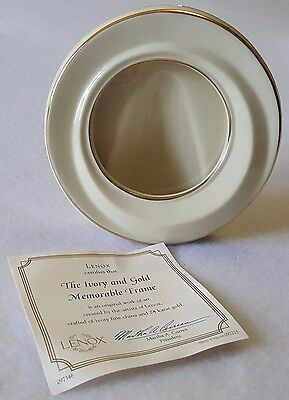 "Lenox Round Picture Frame 5"" Ivory Fine China 24K Gold Original Box Certificate"