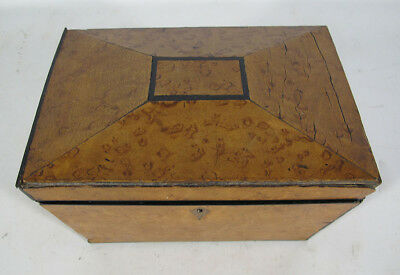 19th C Antique Birds Eye Maple Veneer English Sarcophagus Tea Caddy Box NR yqz