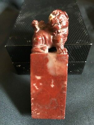 Antique Vintage Chinese Carved Soapstone Seal Foo Dog 20th Century