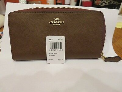 Coach F16612 Accordion Pebble Leather Wallet Saddle--New With Tags!! Great Gift
