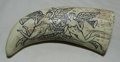 Faux / Reproduction / Replica Scrimshaw Whale's Tooth - Victory Angels + Ship