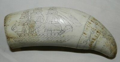 Faux / Reproduction / Replica Scrimshaw Whale's Tooth - The Whaler Eagle + Liber
