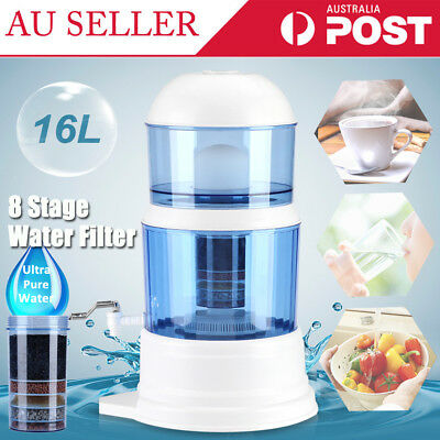 8 Stage 16L Ceramic Water Filter Bottle Bench Top Dispenser Carbon Purifier Jug