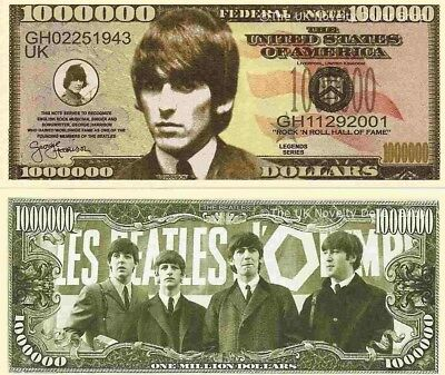 George Harrison The Beatles Million Dollar Bills x 4 New