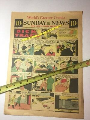 1952 NEW YORK SUNDAY NEWS Comic Strip DICK TRACY Beyond Mars LITTLE ORPHAN ANNIE