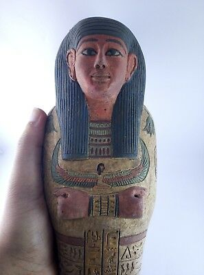 ANCIENT EGYPTIAN ANTIQUE EGYPT Statue Ushabti Shabti Hold Goddess Winged Isis Bc