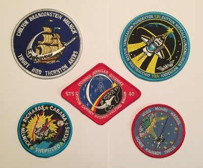 NASA PATCH LOT 5 Space Program & Shuttle STS Mission Embroidered Iron On Patches