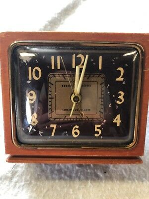 Vintage General Electric Alarm Clock -Made In USA!  wooden block