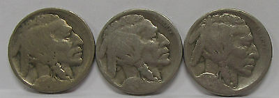 1915-D, 1916-S & 1920-S Buffalo Nickels - Indian Head *Lot of 3- Old US 5 Cents