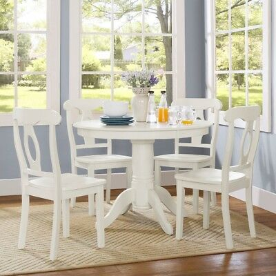 Pedestal Dining Table Set Round Wooden Chairs Kitchen Seats 4 White 5 Piece Wood