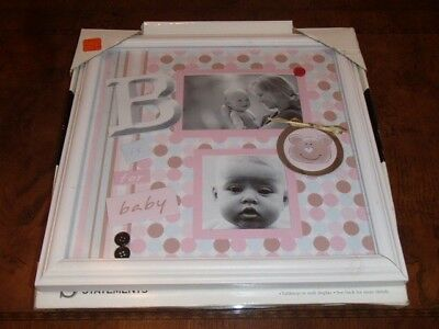 SCRAP BOOK FRAME NEW BABY Girl Pink Pictures