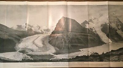 """1913 May HUGE PHOTO 47"""" x 18 1/2"""" of Mt Robson Canada National Geographic Insert"""
