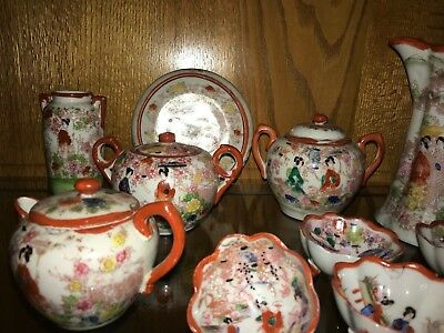 Vintage 30s Nippon Japan Tea Set Bone China Japanese Geisha