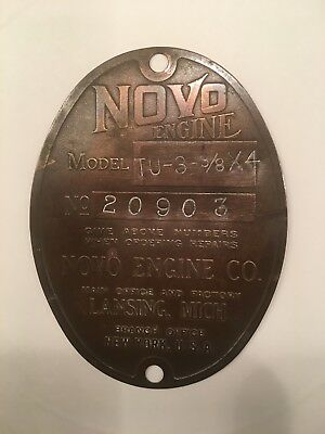 Vintage Novo Engine Badge Plate Emblem Hit Miss Farm Motor