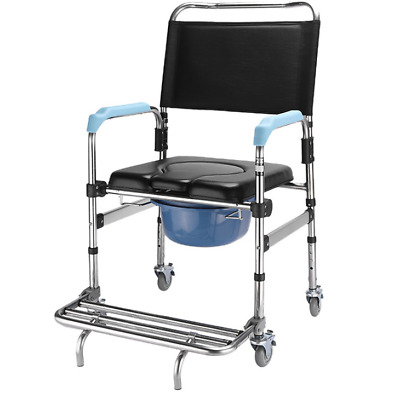 4 brakes Wheels & Footrests Wheelchair Toilet Mobile movable Commode Chair Hot
