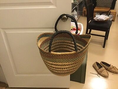 Fair Trade Africa Bolga U Shopper Tote Basket~Aqua Bright & Beautiful Large