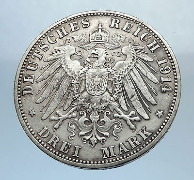 1914 Baden German State SILVER w FREDERICK II Eagle w Crown Vintage Coin i71831